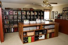 CRAFTROOM, love the cube storage & narrow shelves full of jars