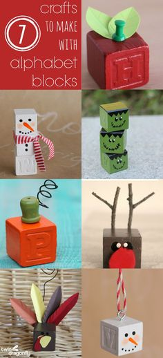 Seven Crafts to Make with Alphabet Blocks http://www.twindragonflydesigns.com/seven-crafts-make-alphabet-blocks/