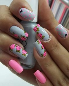 Lady in Red Hot Pink Nails, Pink Nail Art, Gray Nails, Flower Nail Art, Art Flowers, Manicure, Pedicure Nails, Toe Nails, Beauty Nails