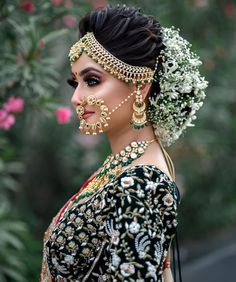 """Third Look of the """"Hairstyle and Makeup Seminar"""" which was held in Ahmedabad on Our Team : Sponseror : , , , Makeup : Richa Dave Hairstyle : Prarthi And Urvashi Dave Hosting By : Harsh Singh Model : Janki Bodiwala Bun By : Loading. Third Look of the … Indian Bridal Photos, Bridal Hairstyle Indian Wedding, Indian Wedding Bride, Bridal Hair Buns, Bridal Braids, Indian Wedding Hairstyles, Indian Bridal Makeup, Bride Hairstyles, Hairstyles For Lehenga"""