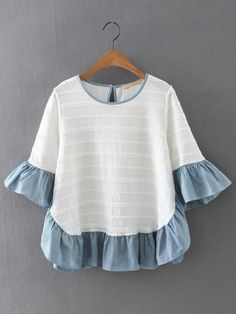 SheIn offers Multicolor Ruffle Bell Sleeve Knit Jacquard Blouse & more to fit your fashionable needs. Ruffle Collar Blouse, White Ruffle Blouse, Cute Dresses, Cute Outfits, Love Fashion, Fashion Outfits, Summer Blouses, Blouse Online, Mode Inspiration