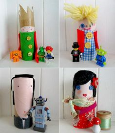 Recycling easy to do with children: 45 Crafts Recycled Crafts, Diy And Crafts, Arts And Crafts, Diy For Kids, Crafts For Kids, Pyjamas Party, Toilet Art, Diy Karton, Homemade Dolls