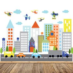 Kids Vinyl Wall Sticker Decal Art City Buildings With Cars Trucks  Helicopter Airplane Children Nursery Baby Kid Room