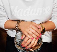madame sweatshirt white pink nails disco ball backstg.com backstage