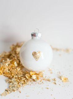 DIY Gold Leaf Heart Ornament #holiday #ornament #diy