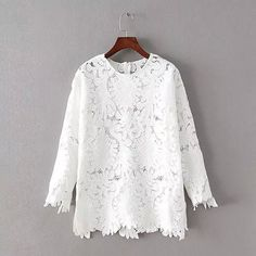 Lace & Spandex & Polyester Women Long Sleeve Blouses, floral, white, Size:Free Size - yyw.com