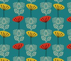 Retro Lotus and Seedhead fabric by joheadington on Spoonflower - custom fabric