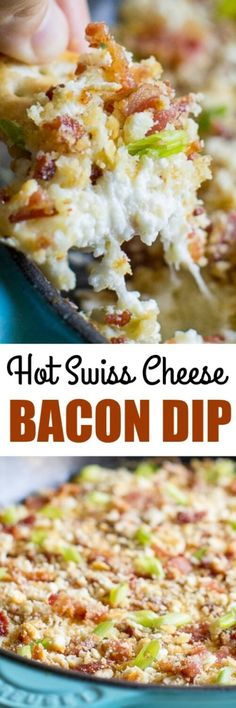 Hot Swiss Cheese and Bacon Dip is a creamy and bubbly cheesy dip covered in bacon. Need I say more? I suggest doubling the batch. It's insanely good!