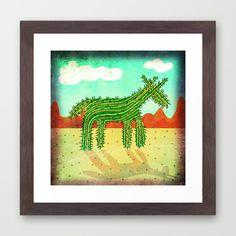 Cactus Unicorn Framed Art Print