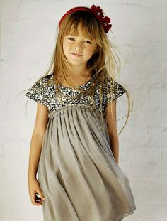 sewing for girls inspiration. love the sparkles and pleats in this dress!