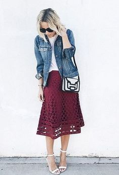 Bring in more jewel colors with a cranberry skirt.