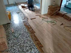 wooden floor on a mosaic