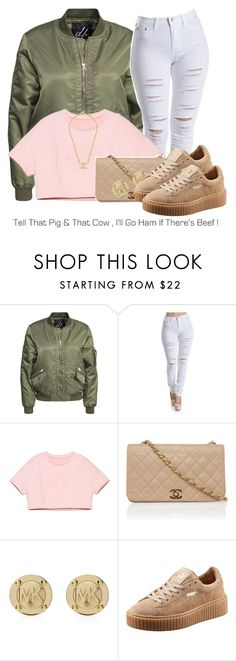 """Here to stay."" by cocochanelox ❤ liked on Polyvore featuring D. Brand, Michael Kors, Puma and Chanel"