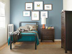 bedside table orange lamp