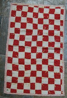 17in x 28in calico prints Red & White 1-Patch Antique Doll Quilt ~NICE FABRICS!