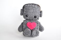 Totally awesome valentine for a dude lol - Amigurumi Robot Crocheted in Grey with Pink Heart.