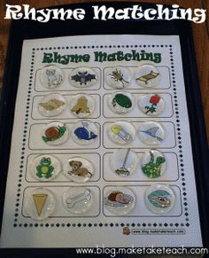 FREE pictures and template to make your own Rhyme Matching activity.