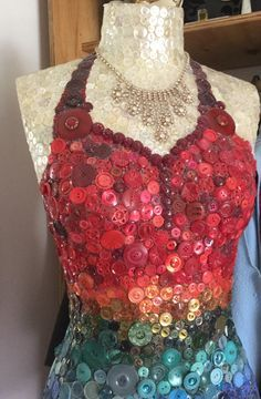 This is one of several button mosaic mannequins I've made - her name is Niwa #buttonlovers