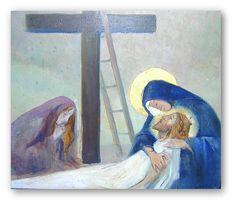 Station 13: Jesus Is Taken Down from the Cross ! Artist: Lucien Lantier (1879-1960) ! Paintings on wood in the church of Samogneux, France