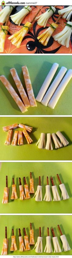Cheese stick and pretzel Witch's Brooms!