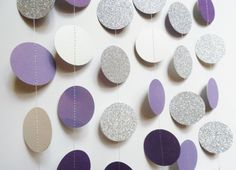 Glitter Circle Garland, SIlver and Purple Paper Dot Garland, Party Decoration, Wedding Reception Decor, Bridal Shower Decoration by ThePartyHaven on Etsy https://www.etsy.com/listing/243812510/glitter-circle-garland-silver-and-purple