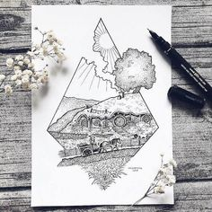 We bring out awesome and fantastic stippling nature art created by Swedish illustrator Josefine Svärd. She stunningly created this stippling art that show Tolkien Tattoo, Tatouage Tolkien, Hobbit Tattoo, Lotr Tattoo, Lord Of The Rings Tattoo, Ring Sketch, Arte Do Harry Potter, Natur Tattoos, Stippling Art