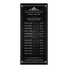 Shop Elegant Vintage Damask Beauty Salon Price List Rack Card created by CardHunter. Personalize it with photos & text or purchase as is! Hair Salon Price List, Hair Salon Prices, Beauty Business Cards, Custom Business Cards, Speisenkarten Designs, Design Ideas, Hairstylist Business Cards, Rack Card, Some Text