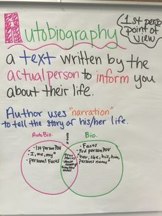 Autobiography anchor chart                                                                                                                                                                                 More Third Grade Writing, 6th Grade Ela, 3rd Grade Reading, Autobiography Project, Autobiography Writing, Ela Anchor Charts, Reading Anchor Charts, Reading Skills, Teaching Reading