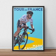 Tour De France Poster  Mark Cavendish  Cycling by TroutLifeStudio