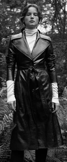 Leather Coat Daydreams: Indiana Leather Coat by Magda Butrym Long Leather Coat, Black Leather, Magda Butrym, Rain Wear, Vintage Leather, Indiana, Breast, Womens Fashion, Dresses