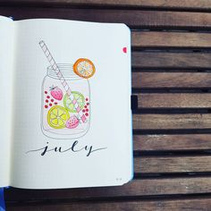 Bullet journal monthly cover page, July cover page, lemonade drawing. | @danishbujo