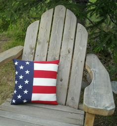 Patriotic Americana Flag Pillow 4th of July by MyMontanaHomestead