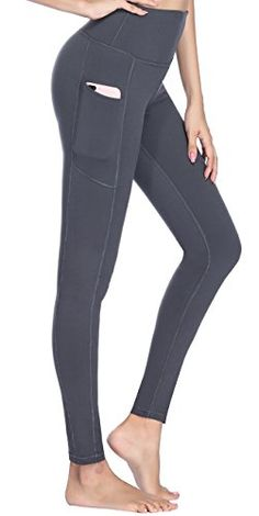 afc6b82859 Women's High Waist Yoga Pants with Side Pockets & Inner Pocket Tummy  Control Workout Running Stretch Sports Leggings