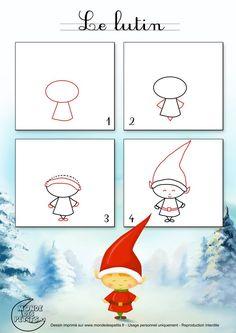 weihnachten zeichnen dessiner un lutin de Nol Christmas Doodles, Christmas Drawing, Noel Christmas, Christmas Crafts, Whimsical Christmas, Elf Drawings, Doodle Drawings, Doodle Art, Drawing Lessons