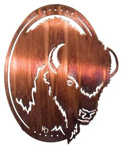 Buffalo Oval Frame-Style Laser Cut Metal Wall Art