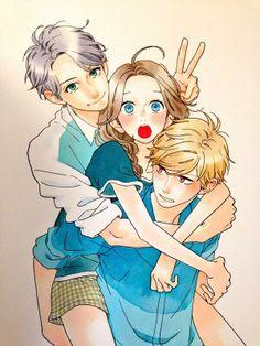 Hirunaka no Ryuusei Shishio, Suzume and Mamura by Yamamori Mikaやまもり三香 (whoknowsmika3) on Twitter