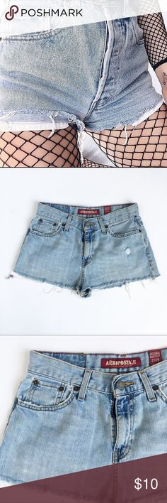 AEROPOSTALE Jean Shorts 5 pocket design  Beltloops  Zipper and button closure  Light wash  Cut offs  100% Cotton  Size: 27/28  Condition: Bottom cut open. Purposefully looks distressed.  Wear with leggings, fishnets, or Calvin Klein bottoms.     ☑️No Pets  ☑️Non-Smoking home  ☑️Every item steamed throughly before shipped!   Ships from Santa Monica, CA   Follow me on Instagram! @koukil1908 ask to have a video of the item ✌️ Aeropostale Shorts Jean Shorts