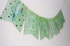 These banners are the perfect addition to a birthday party, bridal shower or baby shower. *Please read all information below* Details: - Theme: Cactus Banner - Color of letter pieces: Soft green watercolor background with white font - There will be 15 inches of twine on either