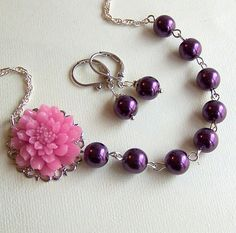 Bridesmaids Necklace and Earrings Set  Dark Purple by lecollezione, $39.00