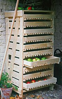 apple rack - use for veggies that don't need refrigeration  in the basement