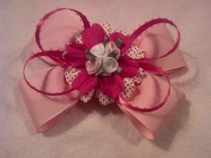 Pink Loopy Rose Hairbow by GloriaMillerCreation on Etsy, $8.00