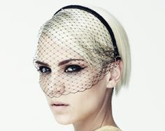 (Jennifer Behr) | DIY: http://cheapnchic.net/diy-dior-veil-and-the-grazia-style-awards/ | DIY 2: http://apairandasparediy.com/2013/10/diy-veiled-net-headband.html
