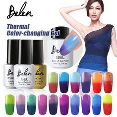 Belen 7ml Chameleon Temperature Change Color UV Gel Polish Varnishes Soak-off Gel Nail LED Lamp Gel Lak UV Nails  Verniz Lacquer