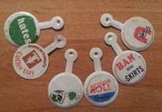 6 Vintage PREMIUM Tabs Badges Pins Buttons DUNKIN' DONUTS AND FUNNY ORIGINALS #DUNKINDONUTS