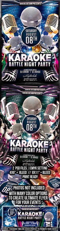 Karaoke Battle Night Party Flyer (Clubs & Parties)   GFX Database