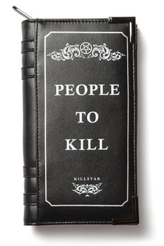 KILL LIST. Yer adding 'em all to the list - Volume 1 of many! - Luxe Vegan Leather.- Zip Closure.- Book-Style Metal Corners. - 20cm x 12cm. Book-style wallet w