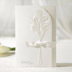 White Lily Ribbon Elegant Floral Wedding Invitation | ItsInvitation