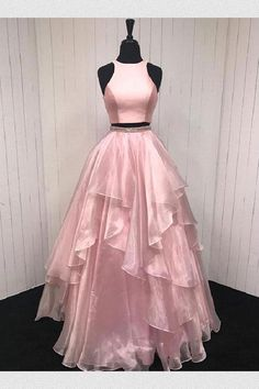 Pink prom dresses, long prom dresses, two pieces prom dresses ,beautiful evening gowns Two Piece Evening Dresses, Beautiful Evening Gowns, Cheap Evening Dresses, Beautiful Prom Dresses, Cheap Prom Dresses, Prom Dresses Long Pink, A Line Prom Dresses, Prom Gowns, Pink Dresses