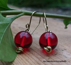 Red Bead Earrings Red Glass Bead Earrings Wire by sparkles4life, $17.70