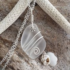 """Handmade in Hawaii, """"April Birthstone"""" wire wrapped Crystal sea glass beach glass necklace, Sterling Silver Chain Sea Glass Necklace, Sea Glass Jewelry, Glass Earrings, Beach Jewelry, Wire Wrapping Crystals, Wire Wrapped Jewelry, Wire Jewelry, Jewlery, Glass Beach"""